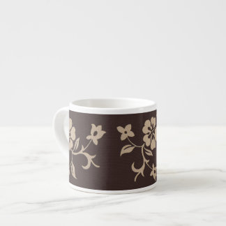 Cream Hibiscus Flowers on Brown 2 Espresso Cup