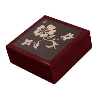 Cream Hibiscus Flowers on Brown 2 Jewelry Box