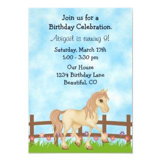 Cream Horse and Flowers Girls Birthday Invitation