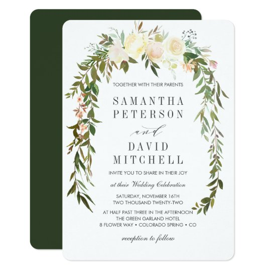 Cream Hunter Green Botanical Fl Wedding Invitation