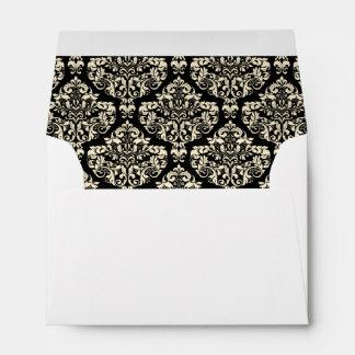 Cream Ivory Black Damask Lined Wedding Envelopes