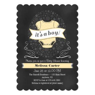 Cream Ivory Chalkboard Boy Baby Shower Invite