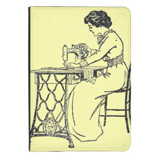 Cream kindle case - lady at vintage sewing machine