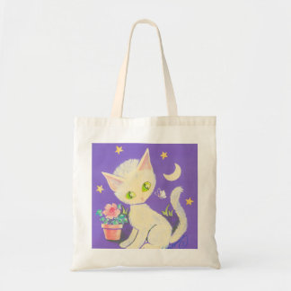 Cream Kitty Cat With Flower Pot, Moon & Stars Tote Bags