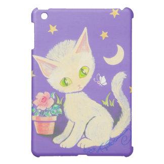 Cream Kitty Cat With Flower Pot, Moon & Stars iPad Mini Cover