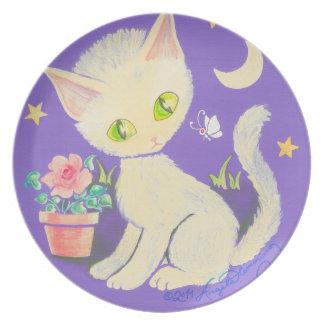 Cream Kitty Cat With Flower Pot, Moon & Stars Dinner Plates