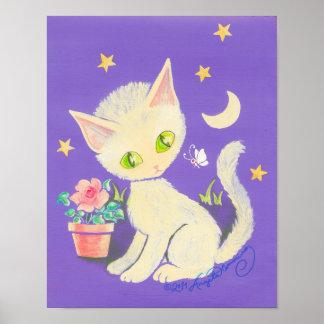 Cream Kitty Cat With Flower Pot, Moon & Stars Print