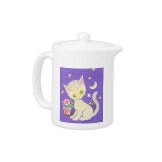 Cream Kitty Cat With Flower Pot, Moon & Stars