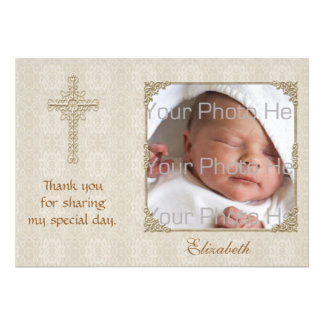 Cream Lace2 Religious Photo Card Personalized Invitations
