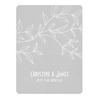Cream leaves on grey, subtle wedding invitation