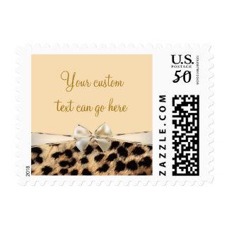 Cream & Leopard Cheetah Print Bow Animal Print Postage