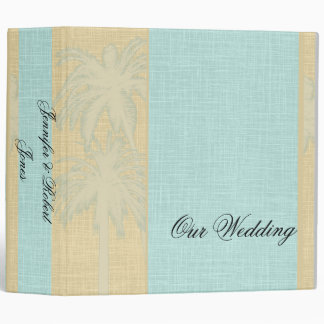 Cream Linen and Blue Palm Trees Binder