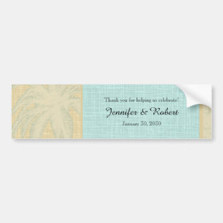 Cream Linen and Blue Palm Trees Bumper Sticker