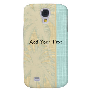 Cream Linen and Blue Palm Trees Samsung Galaxy S4 Cover