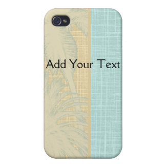 Cream Linen and Blue Palm Trees iPhone 4/4S Cases
