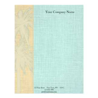 Cream Linen and Blue Palm Trees Letterhead