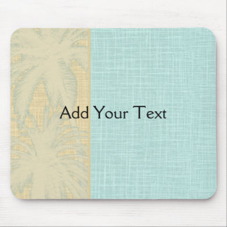 Cream Linen and Blue Palm Trees Mousepads