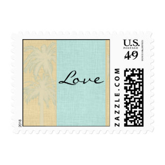 Cream Linen and Blue Palm Trees Postage Stamp