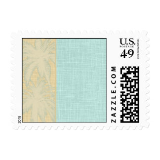 Cream Linen and Blue Palm Trees Postage Stamps