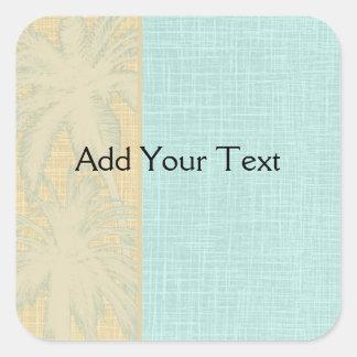 Cream Linen and Blue Palm Trees Square Sticker