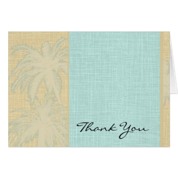 Beach Themed Cream Linen and Blue Palm Trees Thank You Card