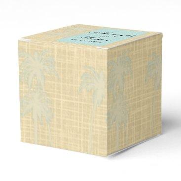Beach Themed Cream Linen and Blue Palm Trees Wedding Favor Box