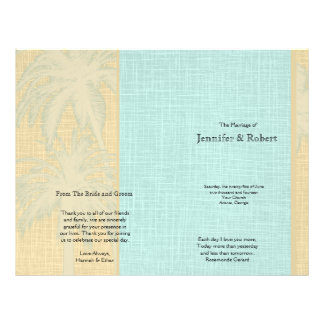 Cream Linen and Blue Palm Trees Wedding Program