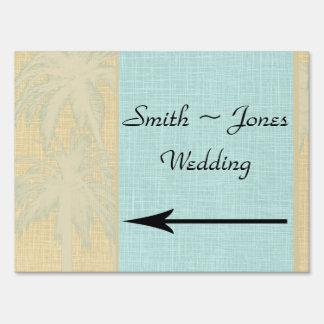 Cream Linen Blue Palm Trees Wedding Direction Sign
