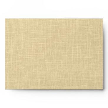 Beach Themed Cream Linen Blue Palm Trees Wedding Envelope