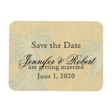 Beach Themed Cream Linen Blue Palm Trees Wedding Save the Date Magnet