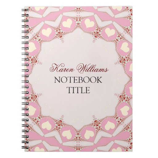 Cream Love Hearts Pink Pastel Lace Notebook