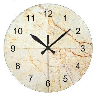 Cream Marble Tile Replica with Black Numerals Large Clock