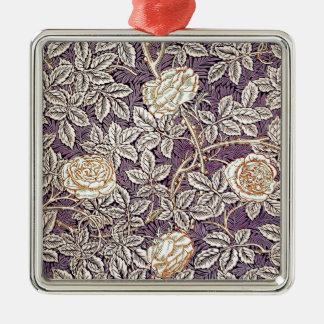 Cream Mauve Roses Metal Ornament
