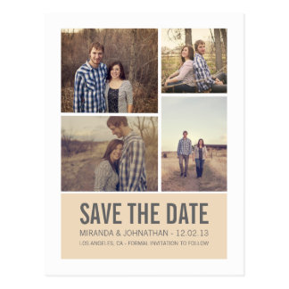 Cream Modern Photo Save The Date Post Cards