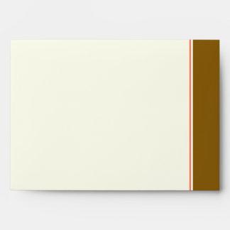 Cream monogram wedding envelope with brown band