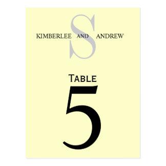 Cream Monogram Wedding Table Number Cards
