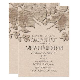 Cream Mud Leaves Rustic Autumn Wedding Invitation