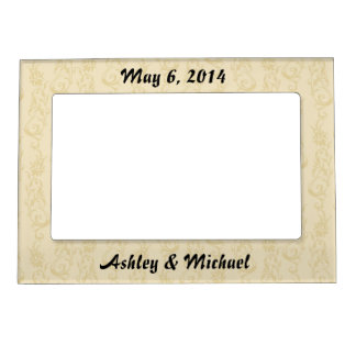 cream mustard yellow  swirl damask magnetic frame