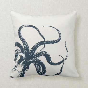 Beach Themed Cream & Navy Vintage Octopus Throw Pillow