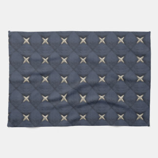 Cream Noble Stars On Imperial Blue Pattern Hand Towel