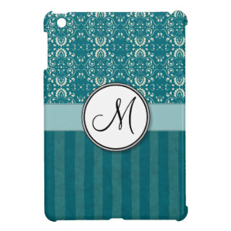 Cream on Teal Damask with Stripes and Monogram iPad Mini Cover
