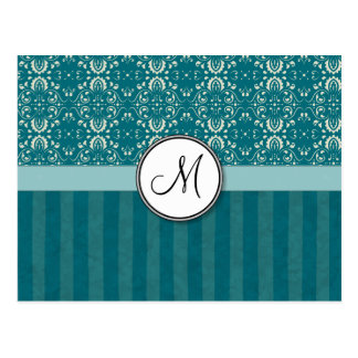 Cream on Teal Damask with Stripes and Monogram Postcard