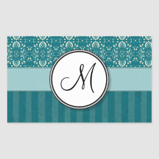 Cream on Teal Damask with Stripes and Monogram Rectangular Sticker