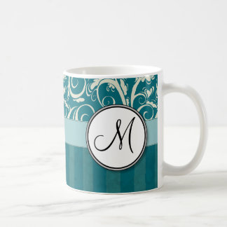 Cream on Teal Floral Wisps & Stripes with Monogram Coffee Mug