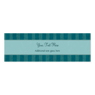 Cream on Teal Floral Wisps & Stripes with Monogram Double-Sided Mini Business Cards (Pack Of 20)