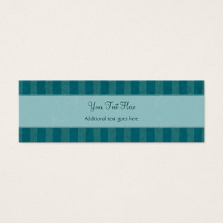 Cream on Teal Floral Wisps & Stripes with Monogram Mini Business Card