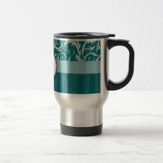 Cream on Teal Floral Wisps & Stripes with Monogram Travel Mug