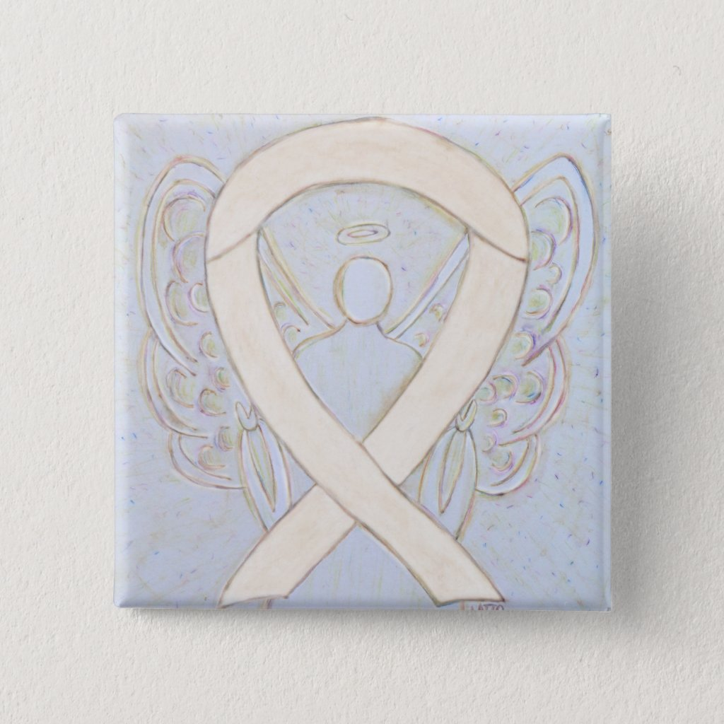 Cream or Ivory Angel Awareness Ribbon Custom Pins