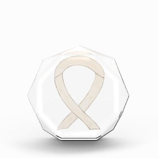 Cream or Ivory Awareness Ribbon Award Paperweight