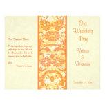 Cream, Orange, Gold Damask Wedding Program Flyer Design